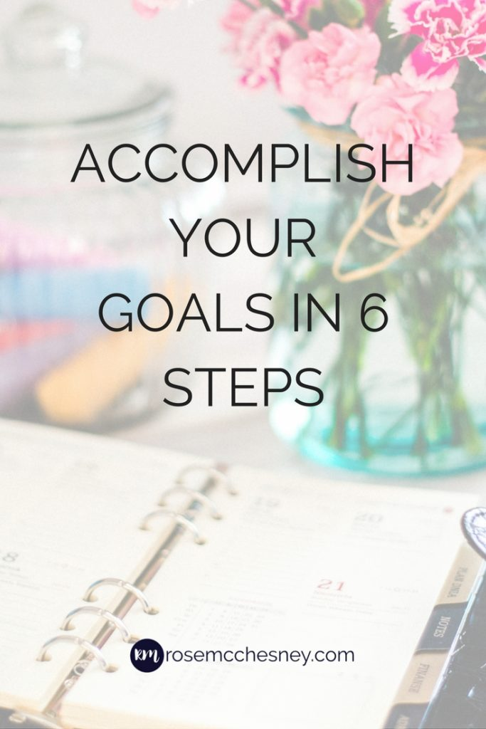 Accomplish your goals in 6 steps pin image